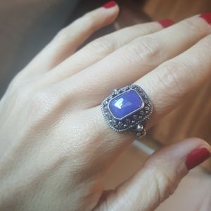 Jewelry - Vintage Chalcedony Sterling Ring Gothic